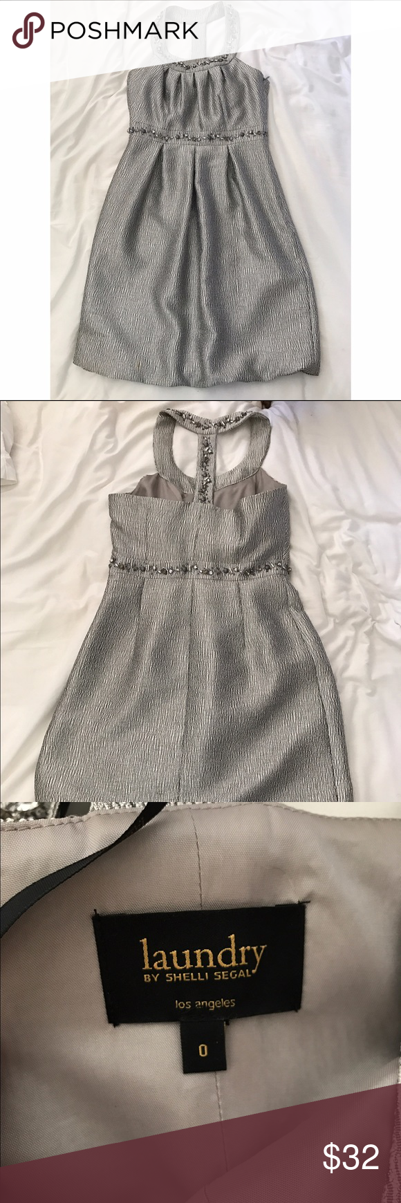 Laundry by Shelli Segal Silver Beaded Dress (sz 0) Short dress, silver (shiny). Halter neckline with accent beads on neckline and under chest. Size 0. Great for holiday party, worn only once. Laundry by Shelli Segal Dresses Mini