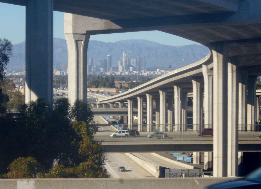 View from Green Line Metro train near Harbor Freeway station LA ...