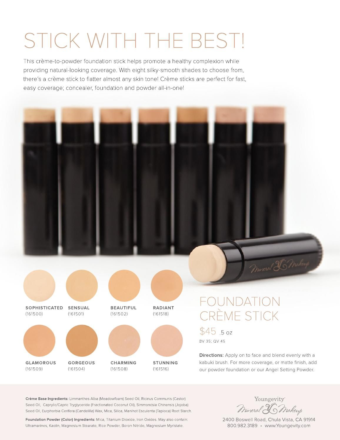 Youngevity Mineral Make Up Foundation creme stick New