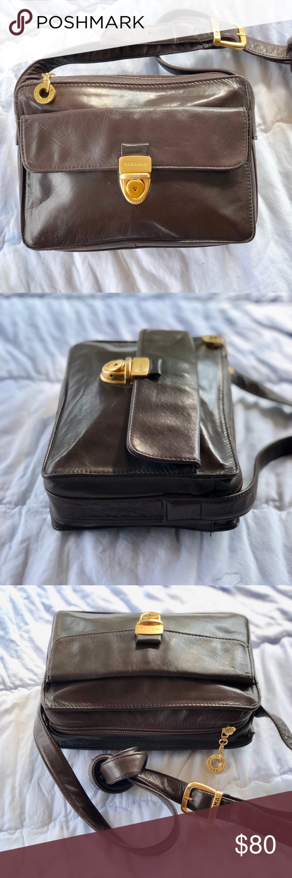 Perlina New York Brown Leather Crossbody Purse This Is A Beautiful That In Like Condition