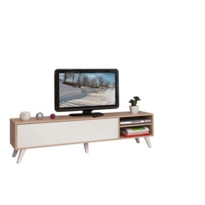 Meuble Tv Scandinave Cosmos Chene Et Blanc Mobilier De Salon