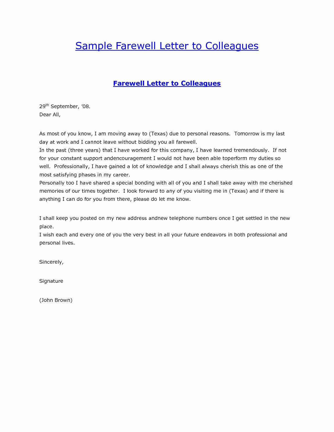 Farewell Card Template in 2020 | Farewell email to coworkers. Farewell letter to colleagues. Goodbye quotes for coworkers