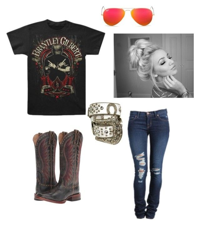 """""""Sunny & 75 in PA today!!"""" by johndeerebabe on Polyvore featuring J Brand, Ariat and Ray-Ban"""