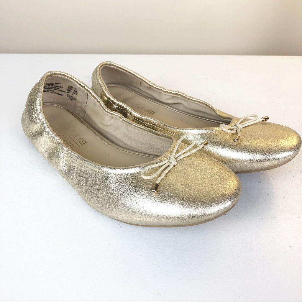 $15* Girls Gold Ballet Flats Size 2.5