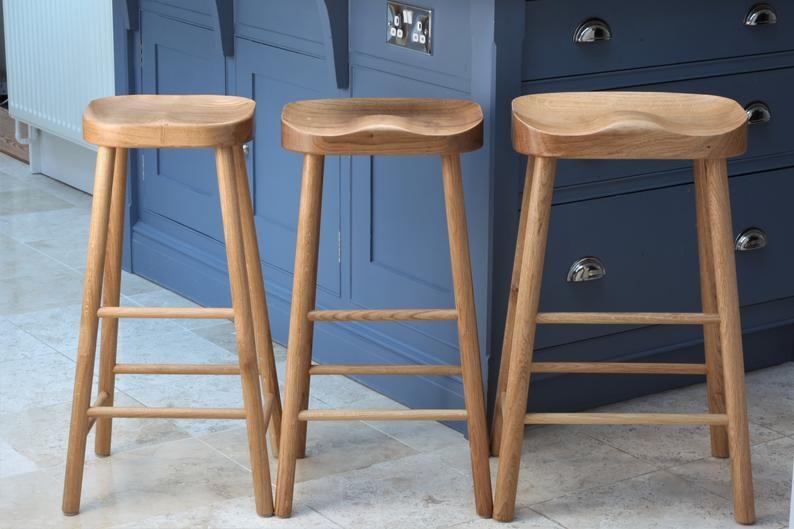 Solid Oak Kitchen Island Stool Breakfast Bar 3 Sizes Etsy Stools For Kitchen Island Island Stools Oak Bar Stools Solid oak bar stools