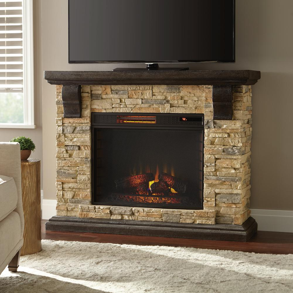 Fireplace Tv Stand Home Depot Home Decorators Collection Highland 50 In Faux Stone Mantel