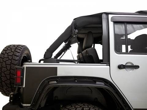 Rampage TrailView Jeep Topper fits 2007 2008 2009 2010 2011 2012 2013 2014 2015 2016 Jeep Wrangler Application: 2007-2017 Jeep Wrangler 2 Door Features - Complete with retractable sunroof - Has remova