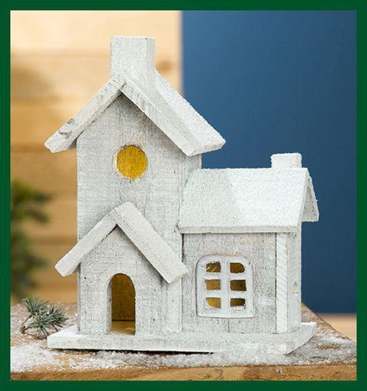 Weihnachtliches Holz Haus grau LED beleuchtet Häuschen ...