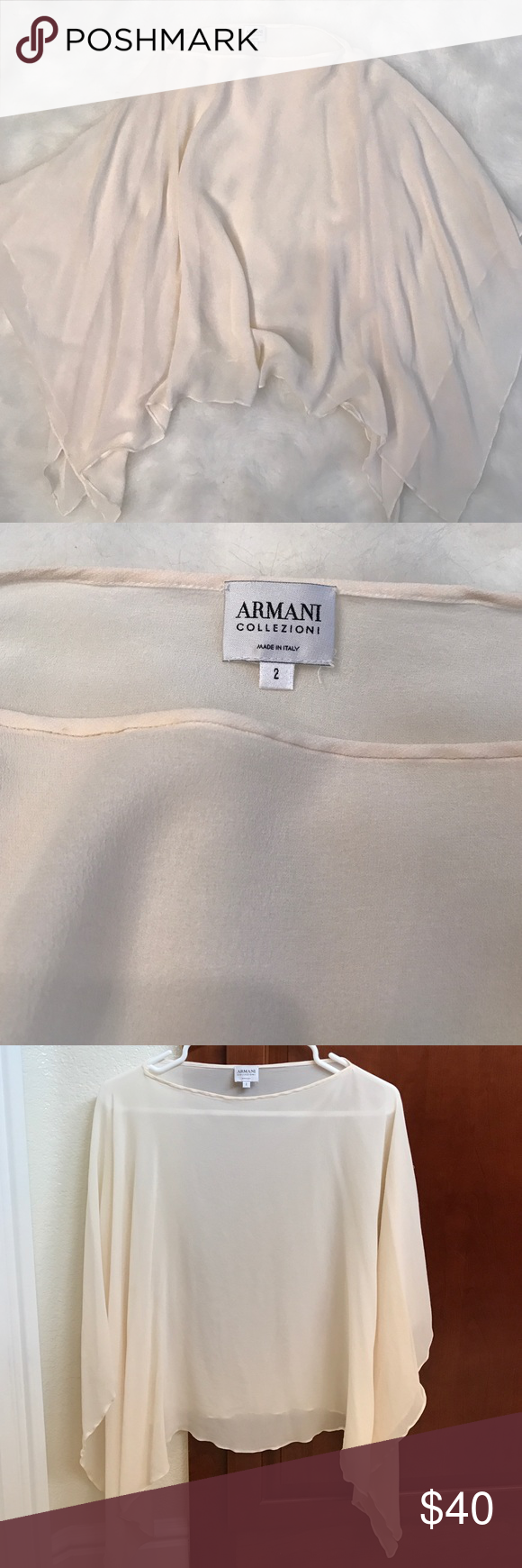 Armani boho poncho style top Dainty off white, sheer poncho style top by Armani. No arm holes, just slip on over head. Armani Collezioni Tops Blouses