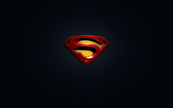 Download wallpapers 4k, Superman, 3d logo, superheroes