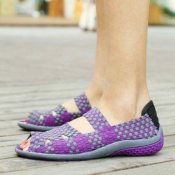 Tricoter À La Main Évider Slip Peep Toe Respirant Sur La Plate-forme Chaussures Shake CmWkoQu