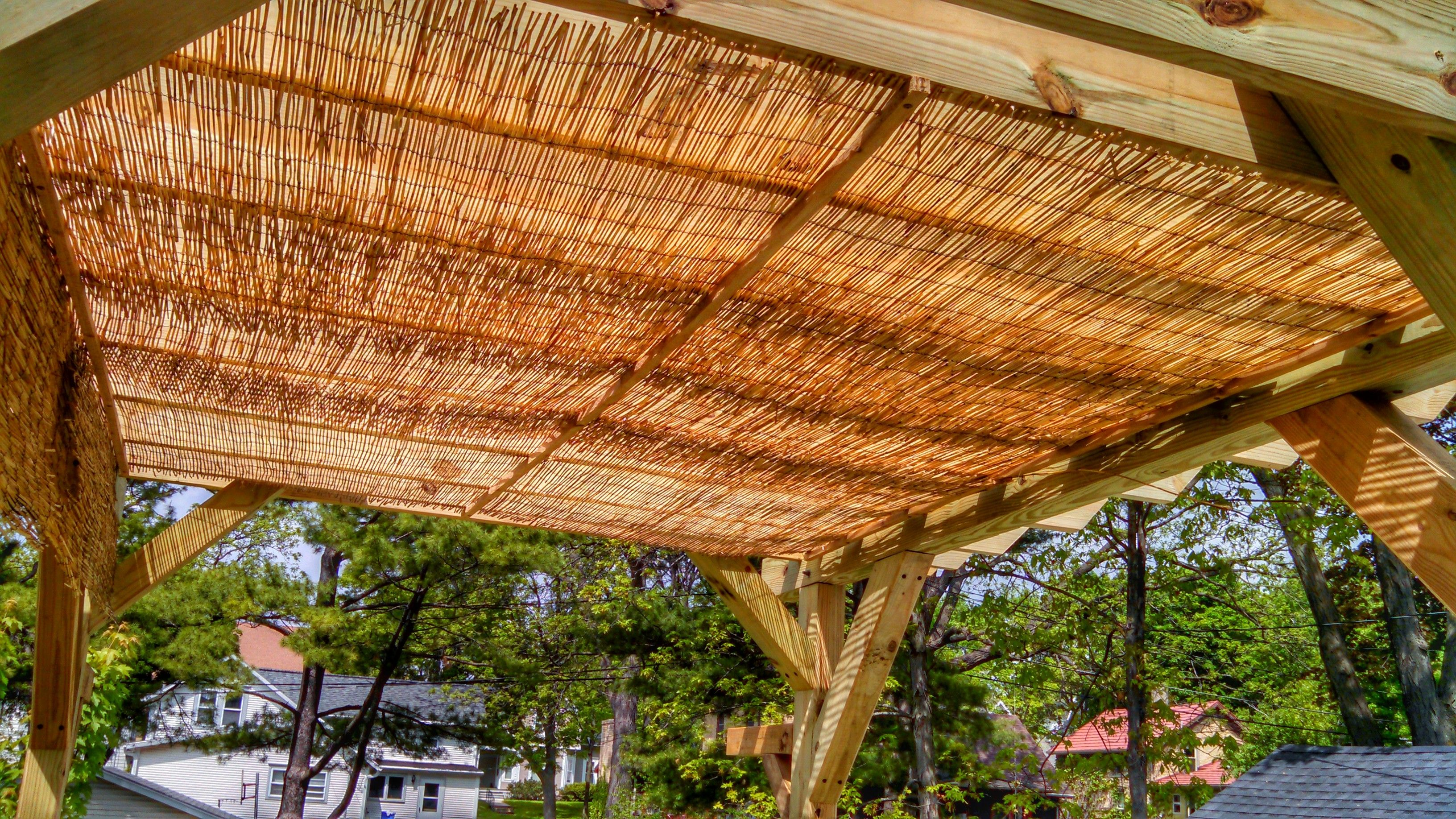 Extra Shade for Pergola, We used 4x8 woven Reed Fencing from Menards ...