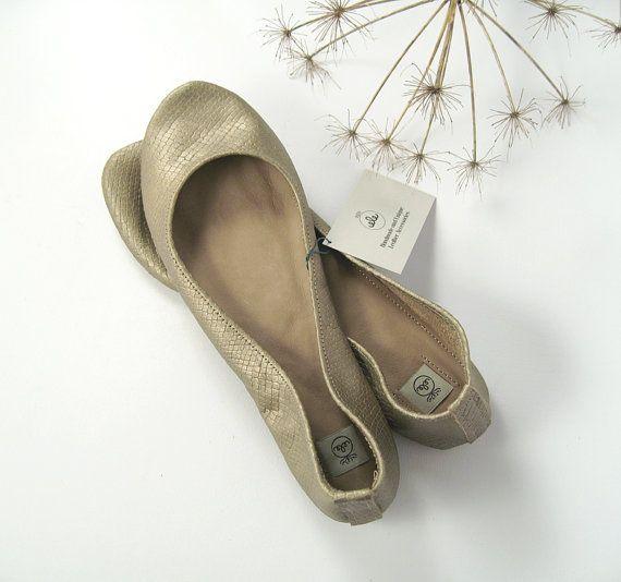 Soft Gold Snake Leather Handmade Ballet Flats.  by elehandmade.