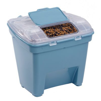 Pet Food Storage Container | Brand : Bergan | Width : 20 in. | Length : 18-1/10 in. | Height : 18-1/2 in. | Material : Plastic | Warranty : 1-Year Limited | Color : Turquoise