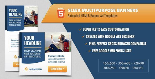 Sleek Multipurpose Banners HTML Animated Ad Templates - Google web designer templates