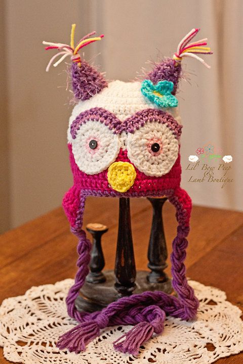 Crochet Owl Hat. I like the colours and yarn choice in this one ...