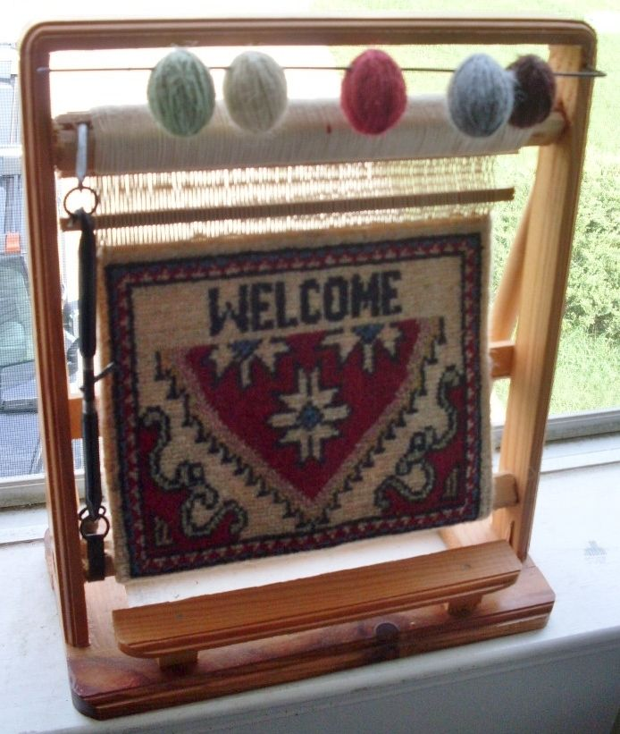 Salesman Sample Rug Weaving Loom Welcome