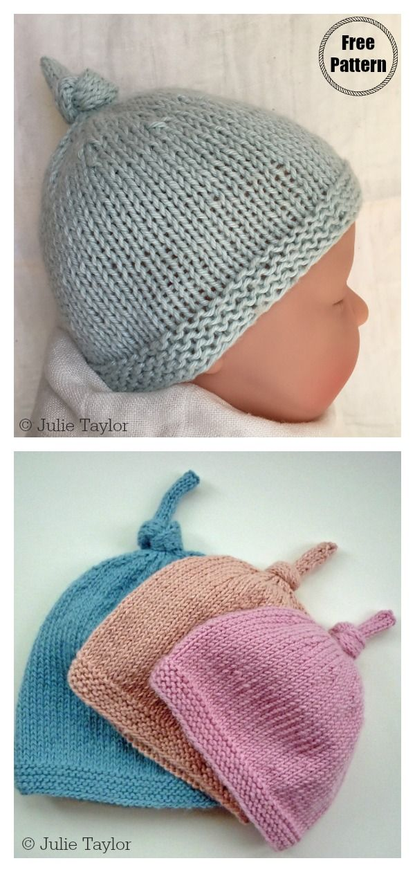 Photo of Top Knot Baby Hat Free Knitting Pattern