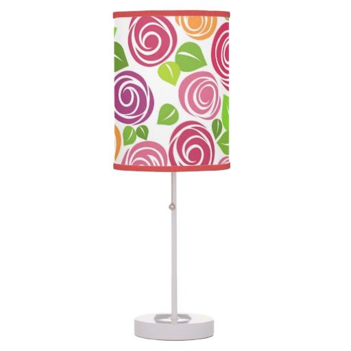 Cute Drawing Rose Texture Design Table Lamp