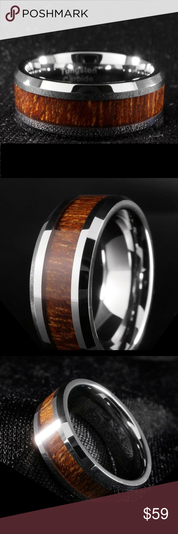 Silver Tungsten Carbide Wood Inlay Mens 8MM Ring Silver