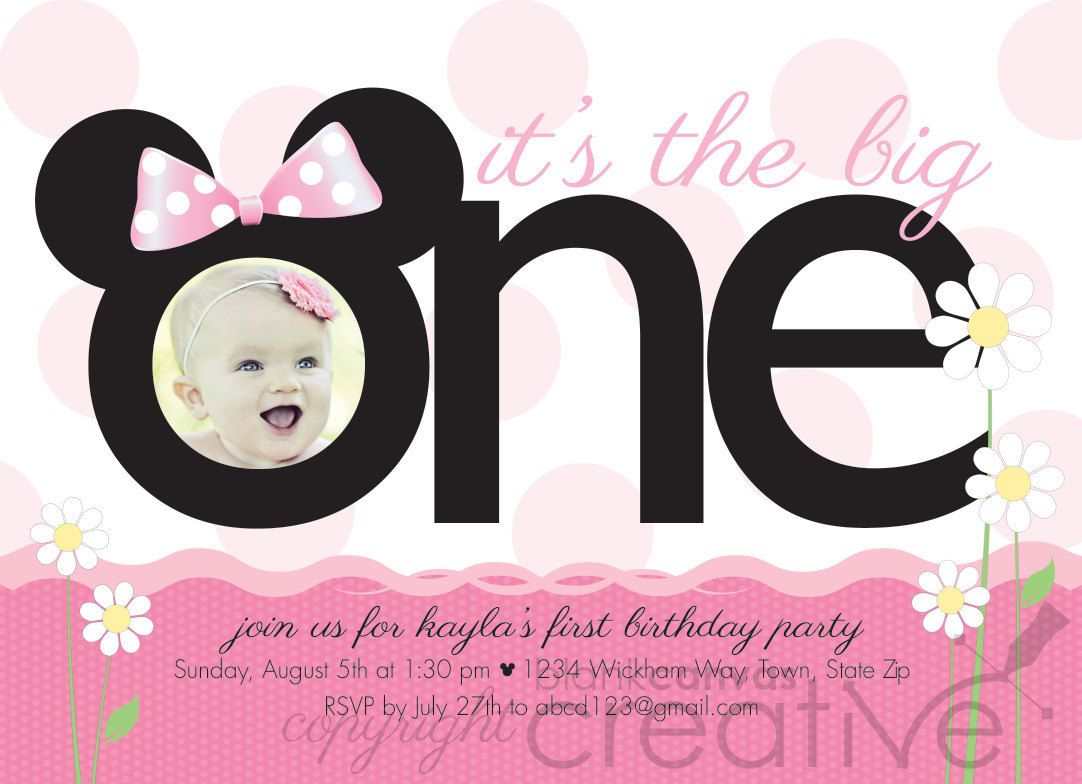 DIY Birthday Invitation - Minnie Mickey Mouse Template. $20.00 ...