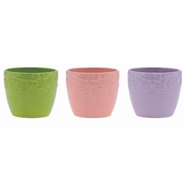 4.5 in. Dia. x 4.5 in. Round Vine Embossed Ceramic Pot 3 Assorted Colors