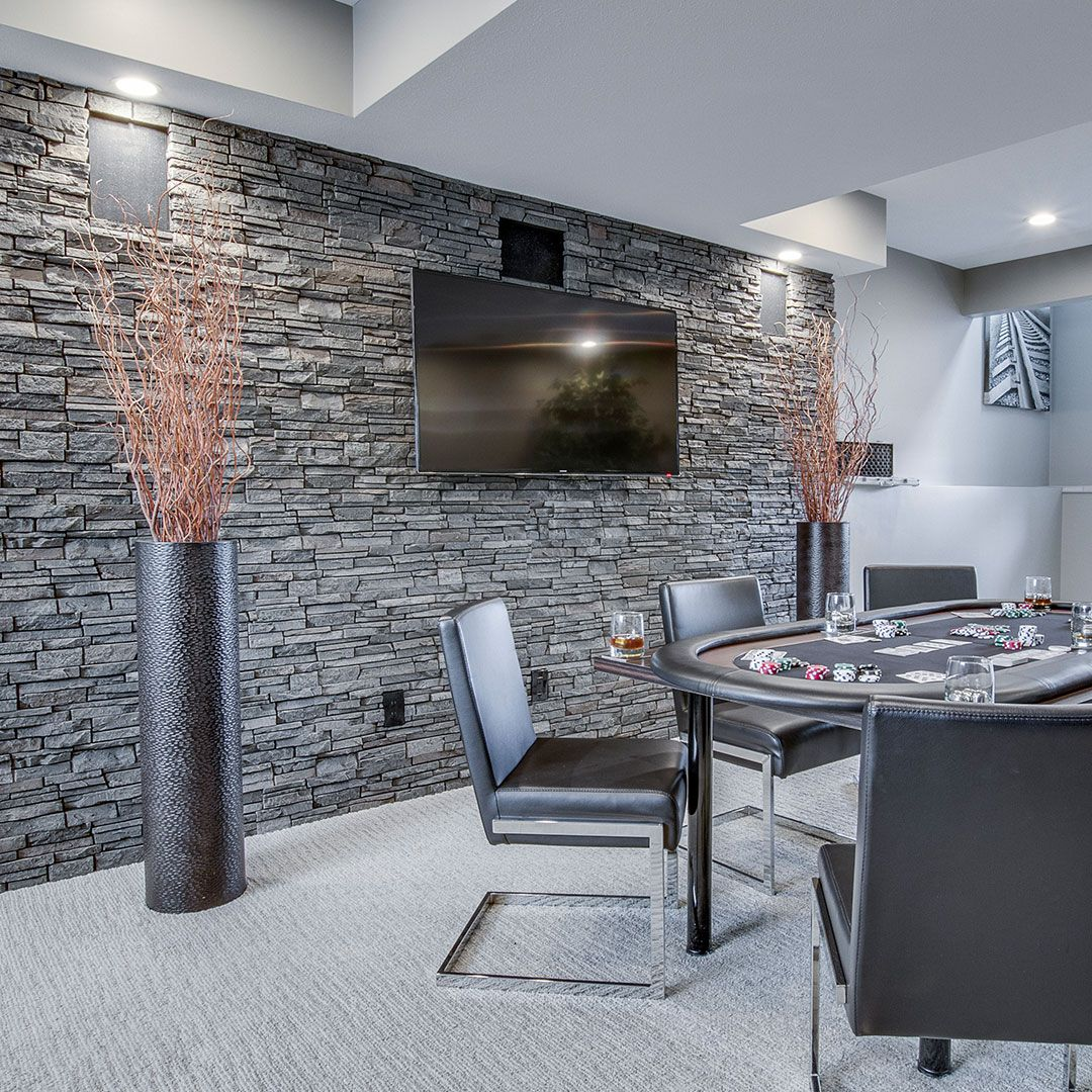 Basment Accent Wall: Stacked Stone - Grey Blend