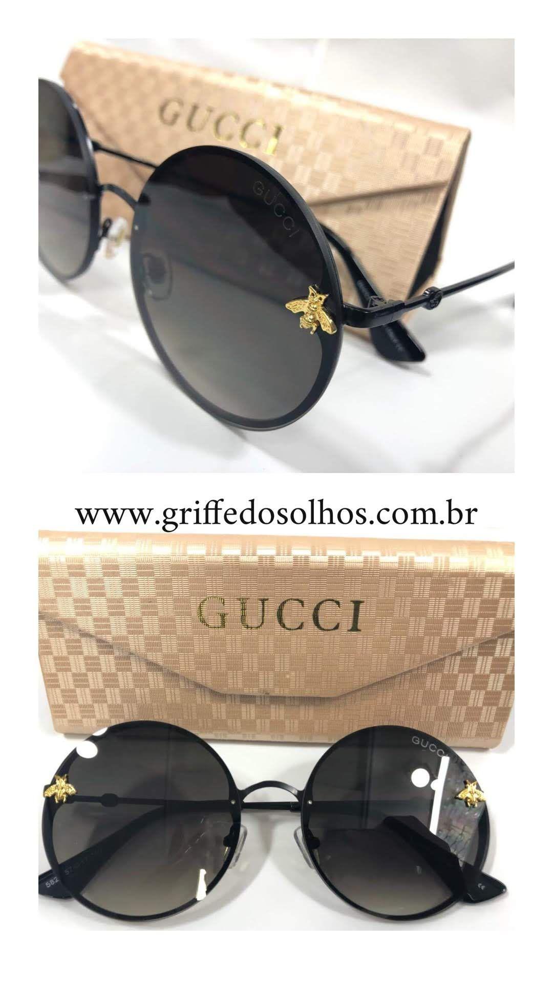 f648587ea ... Óculos de Sol 2019 de Griffe dos Olhos. Marca: Gucci Gênero: Feminino  Modelo: Redondo Cor da Lente: Preto Cor Armação