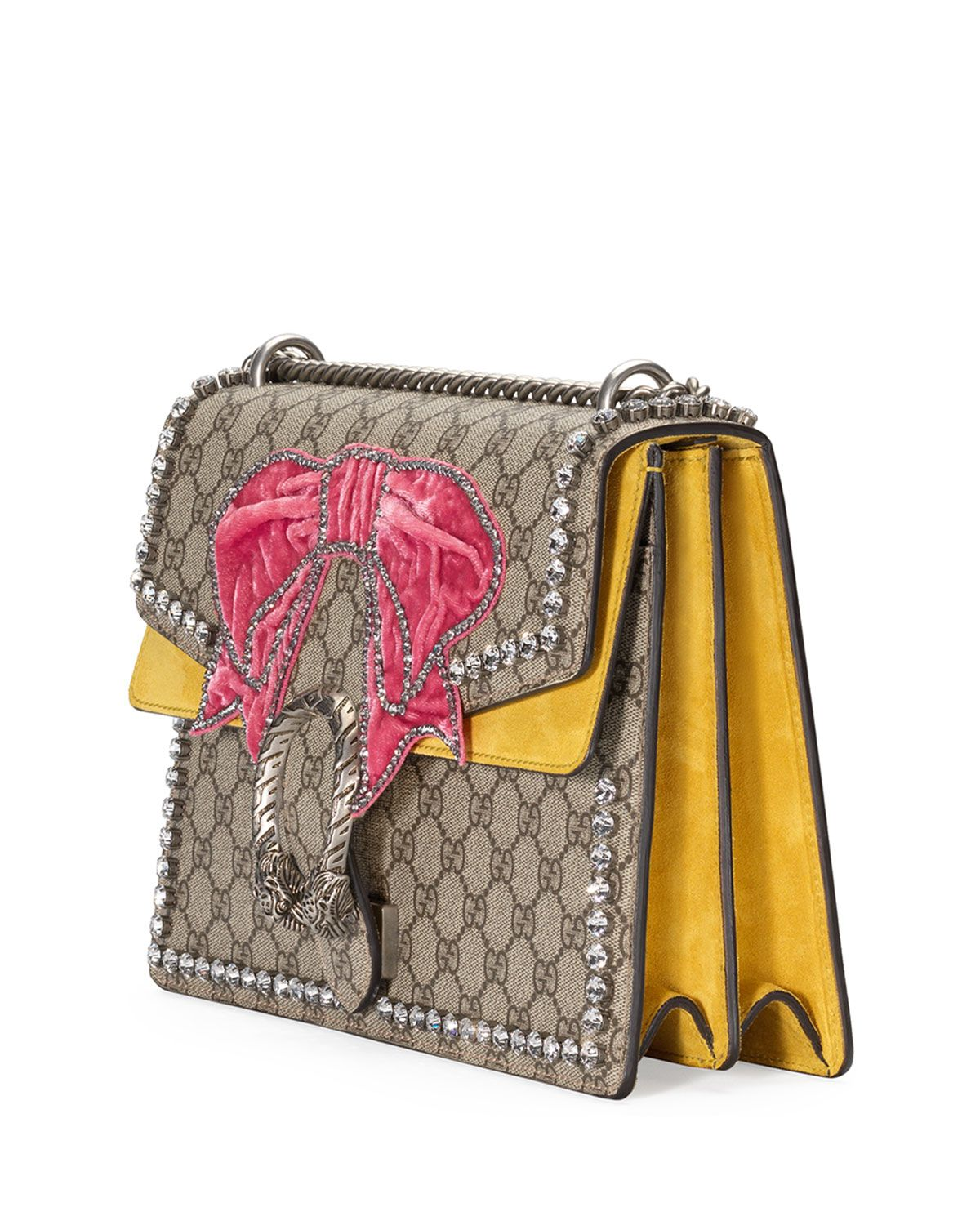 Gucci Dionysus Medium GG Supreme Canvas Shoulder Bag with Crystal Bow 6zS5vU