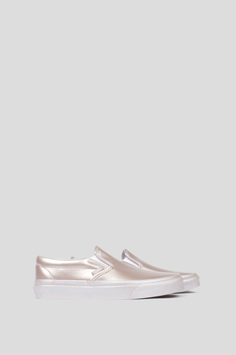 04008d7251be VANS CLASSIC SLIP ON WOMENS ROSE GOLD METALLIC SIDEWALL