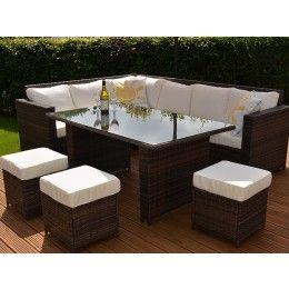 Granada Garden Rattan Corner Sofa Dining Set With Table Umbrella Black