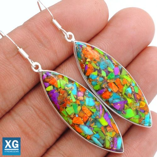 Multi-Copper-Turquoise-925-Sterling-Silver-Earrings-Jewelry-SE49916
