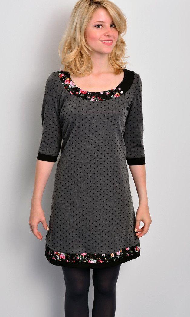 Knielange Kleider - Jersey Kleid - grau - Polka Dots ...