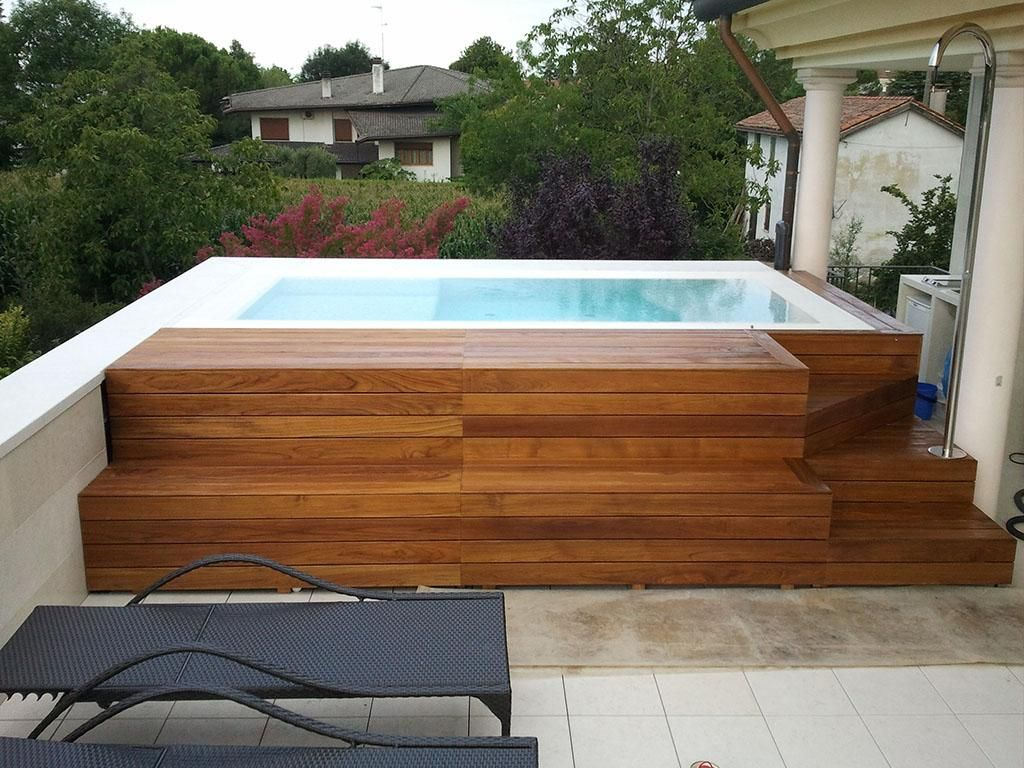 Contemporary Jacuzzi Hot Tub Design With Wooden Cover As