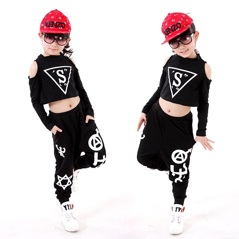 Bien-aimé Children Hip-Hop Dance Costume Personality Girl Dancing Clothing  NQ31