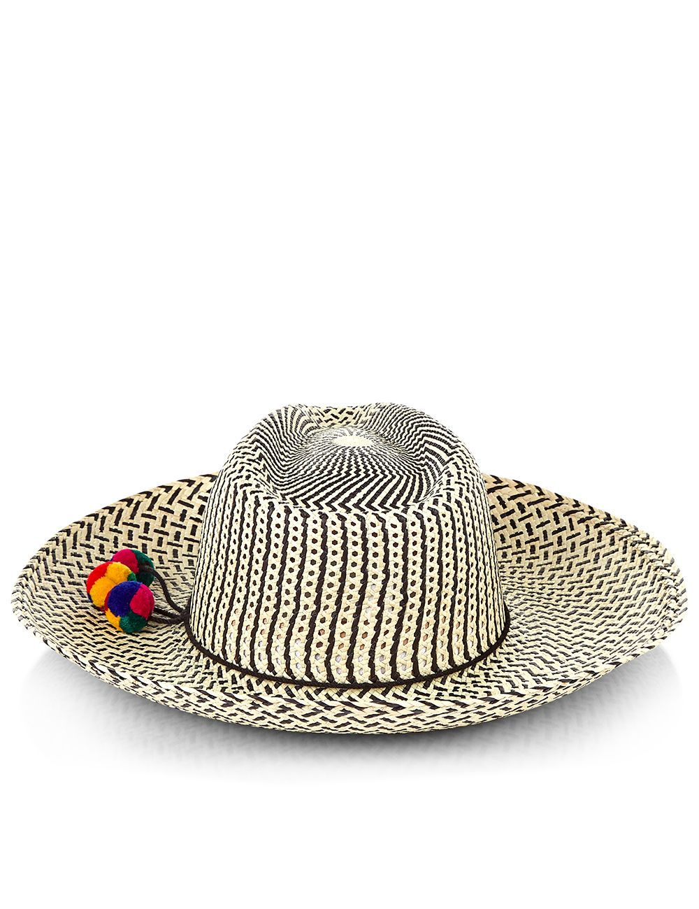 4560b1a0954 Two tone panama hat with pompom in Natural Black