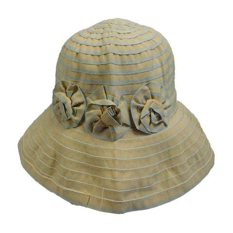 686d859f5a161 Striped Kettle Brim Hat with Flowers — SetarTrading Hats