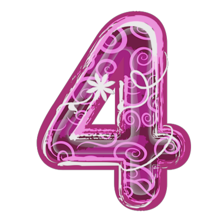 Zahl Nummer Number 4 Alphabet And Numbers Pink Flowers Letters And Numbers