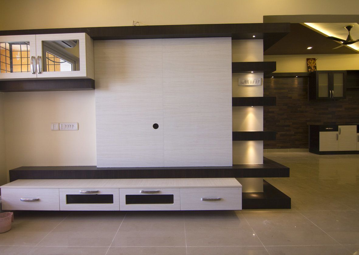 Modular tv unit design media room pinterest tv units for Bedroom designs with tv unit