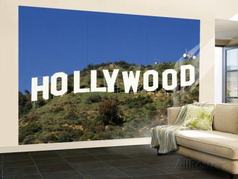 Hollywood sign at hollywood hills los angeles california usa wall mural large