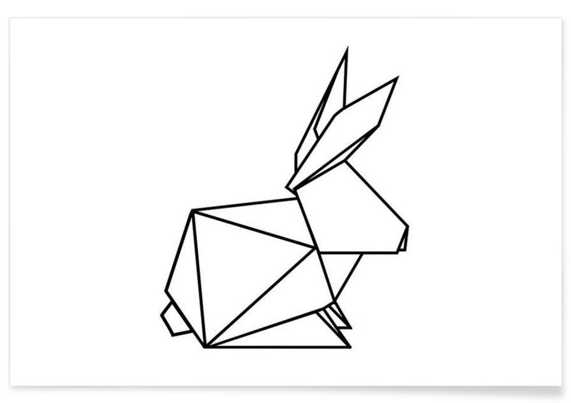 geometrischer hase eulenschnitt premium poster geometrie zeichnen zeichnungen und tiere. Black Bedroom Furniture Sets. Home Design Ideas