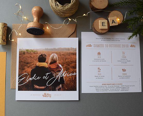 Faire-part de mariage Photo Polaroid par