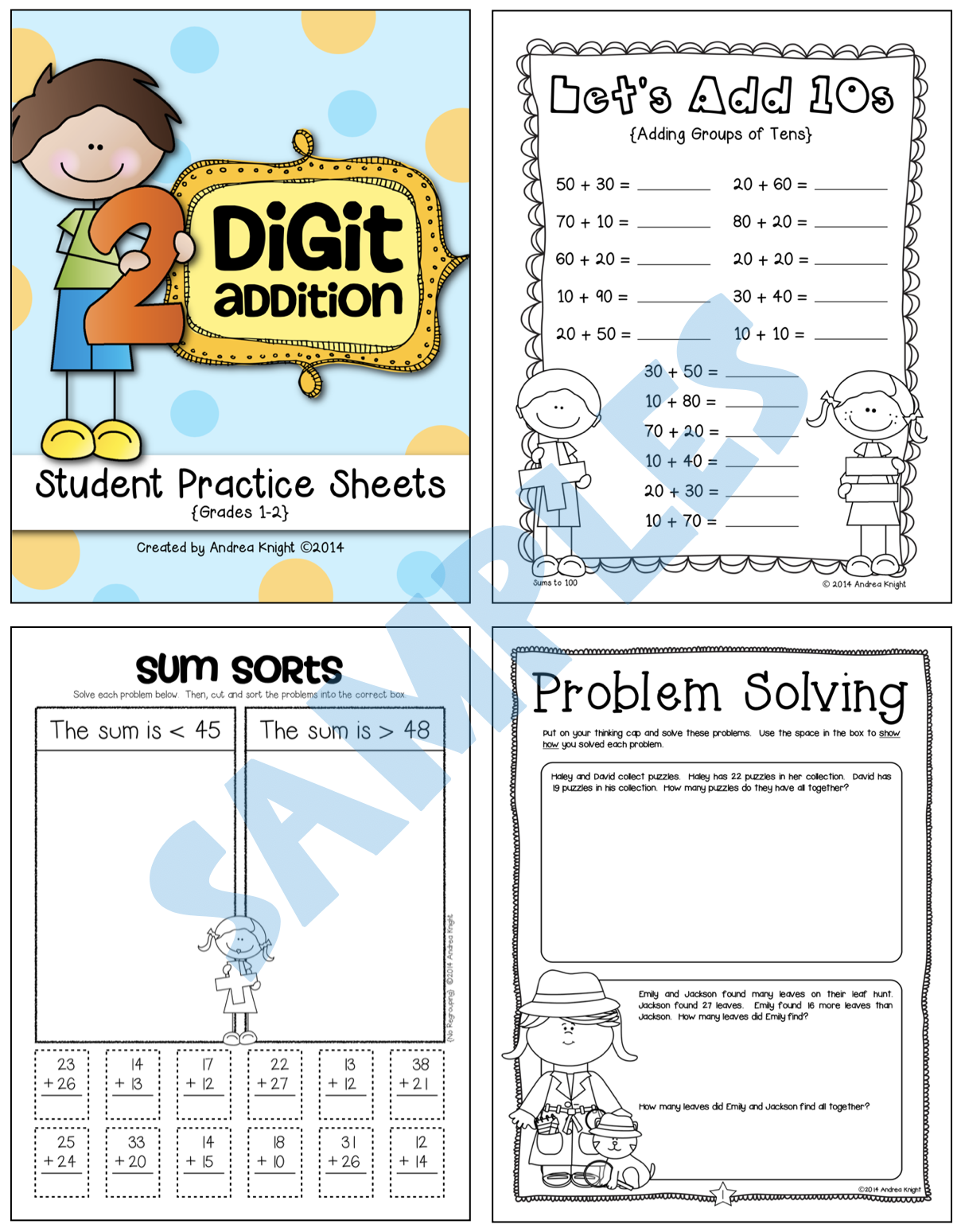Two Digit Addition Math Practice Worksheets For Grades 1