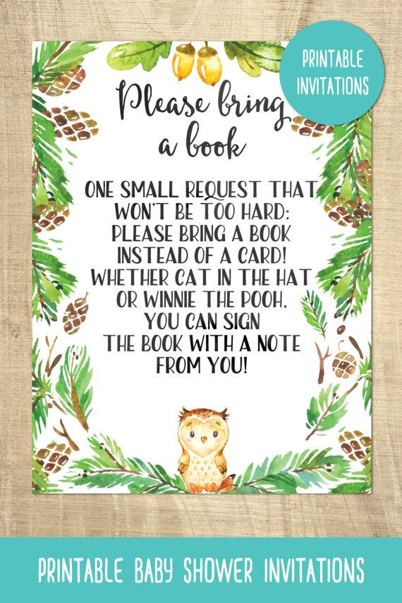 Owl baby shower invitations | bring a book card | forest | printable ...