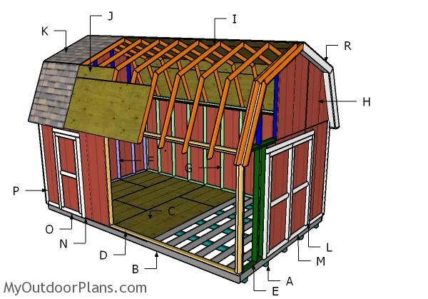 Building a 12x20 gambrel shed outdoor shed plans free for Gambrel pole barn plans