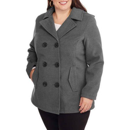 1ce474df3d Faded Glory Women s Plus-Size Double-Breasted Faux Wool Peacoat with Hood