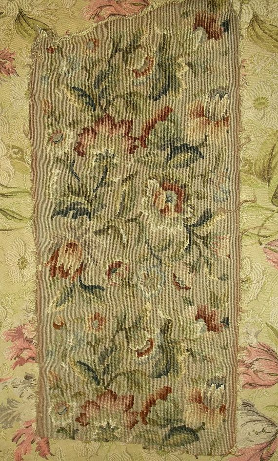 Antique Floral Needlepoint Panel by FleaWhoSaysOUI2 on Etsy