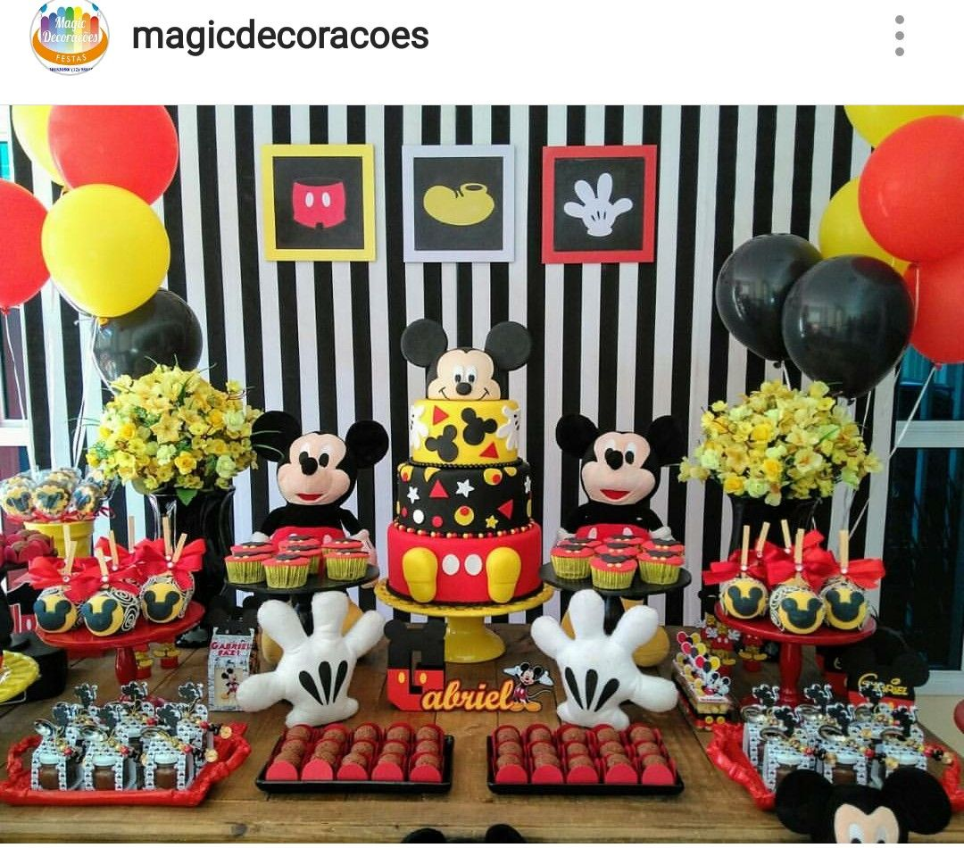 Mickey Mouse Striped Theme Birthday Party Dessert Table And Decor Mickey Mouse 1st Birthday Mickey Mouse Birthday Fiesta Mickey Mouse