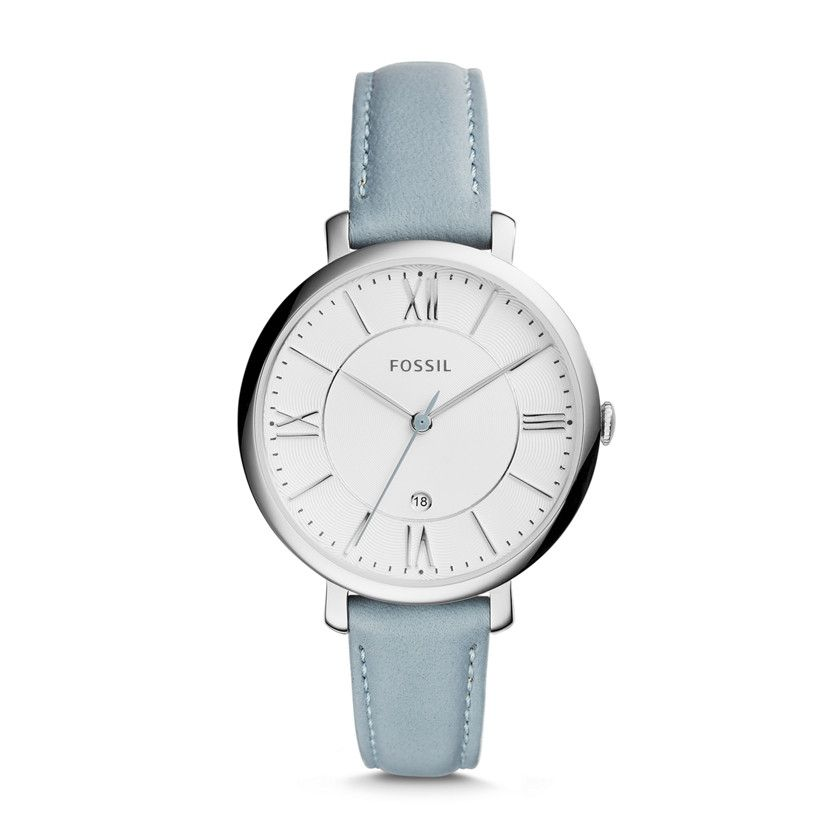 #Fossil Jacqueline Three-Hand Leather Watch - Blue