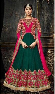 5aa9c46eed Pakistani Designer Anarkali Salwar Kameez in Bottle Green Color Georgette |  FH548082117 Follow Us @heenastyle << #bridallehengas #indianfashion ...
